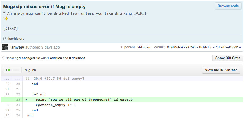 A example, concise commit